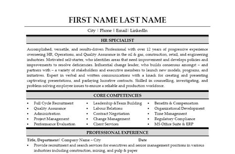 Human Resources Specialist Resume by Hr Specialist Resume Template Premium Resume Sles