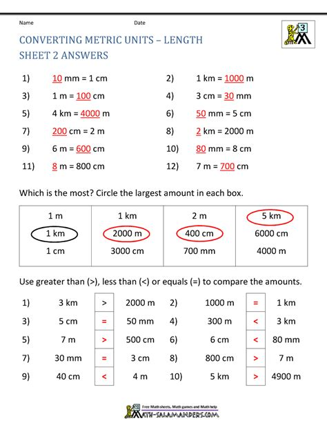 printable math sheets converting metric units