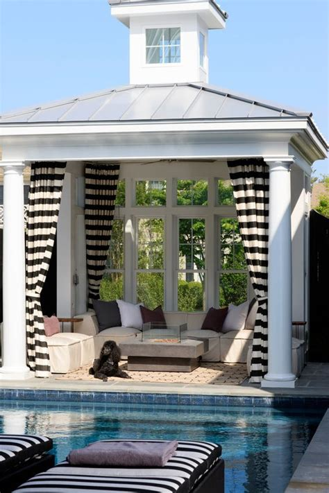 striped outdoor curtains and drapes pool houses house