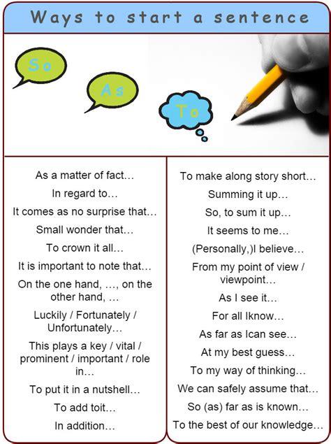 Good Ways To Start A Sentence  Learn English,sentence,english