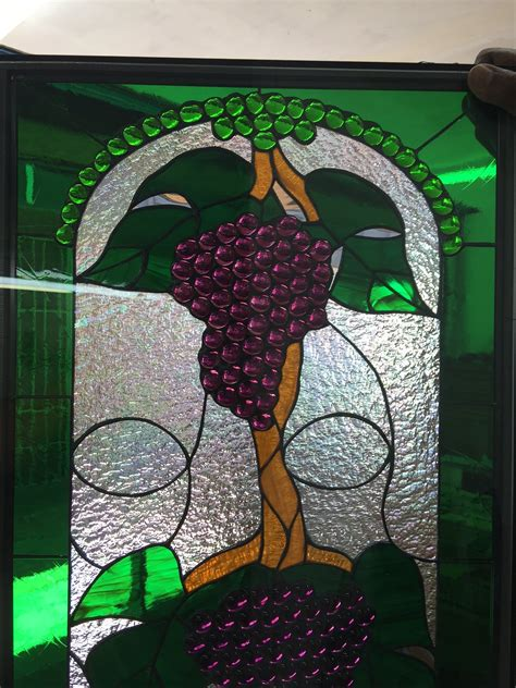 exquisite jeweled grape cluster trio leaded stained glass