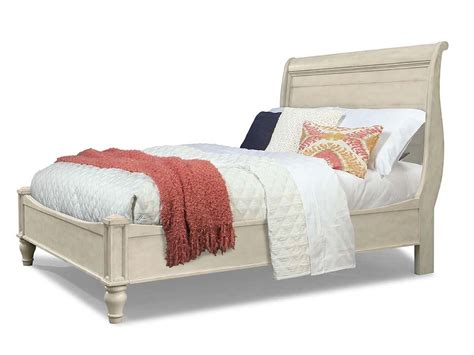 cottage farmhouse distressed white solid sleigh bed