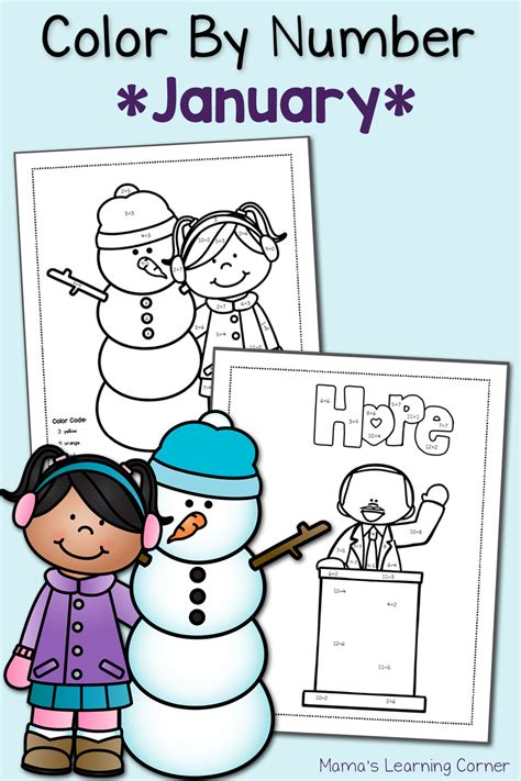 color  number worksheets january mamas learning corner