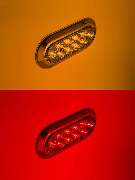 oval white led lights oval led truck and trailer lights w chrome bezel 6 led