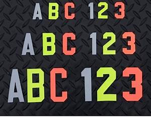 orange 2 inch firefighter reflective helmet stickers With reflective letters for fire gear