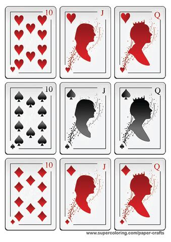 deck  playing cards  silhouettes printable template