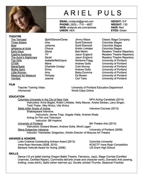 Acting Resume Sle by Acting Resume Search Acting Class Stuff