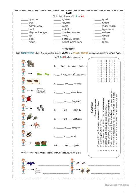 animals worksheet  esl