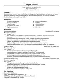 production supervisor resume exles best inventory supervisor resume exle livecareer