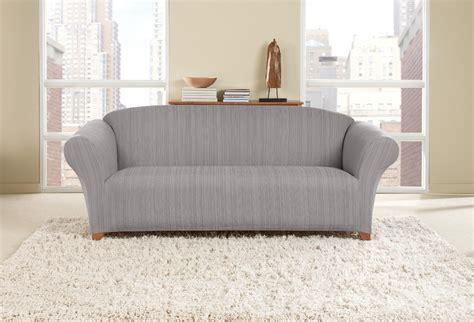 Sure Fit Stretch Striated Twill Sofa Slipcover Dove Gray