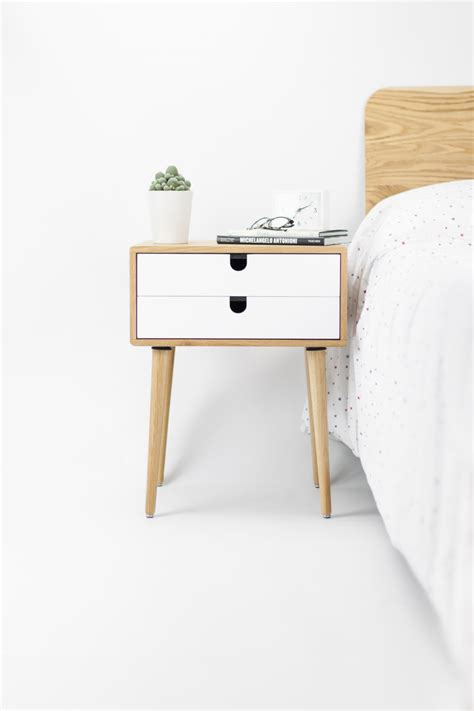 retro bedside table ls oak wood white bedside table nightstand mid century