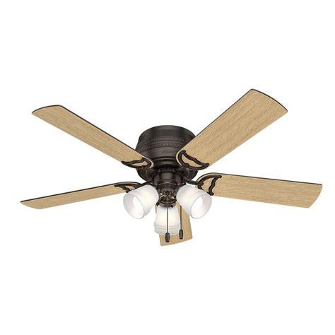 hunter low profile ceiling fan with light hunter prim 52 in led indoor 3 light low profile premier