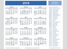 2019 Calendar With Holidays printable calendar yearly