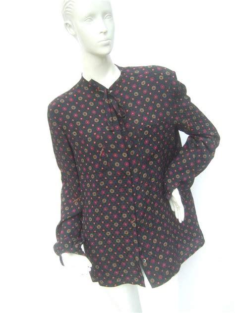 salvatore ferragamo italy silk print bow tie blouse