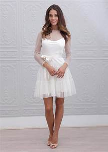 ivory polka dot tulle long sleeves knee length wedding dress With robe blanche droite