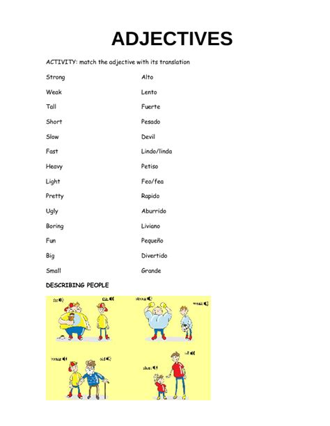 adjectives for 8 9 year old spanish students