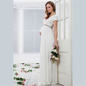 2015 elegant white chiffon pregnant wedding dress custom With pregnant dress for wedding