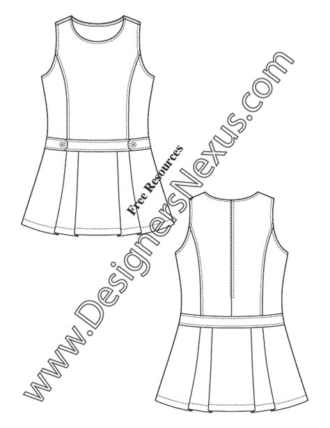 girls dress flat fashion sketch  childrenswear