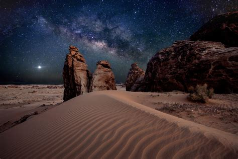 Milky Way Star Desert Stones Sand Hd Wallpaper