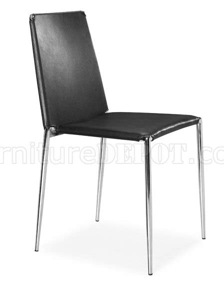 set of 4 black white or espresso leatherette dining chairs