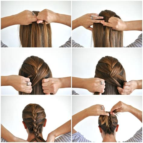 french braid hair  picture tutorial bun