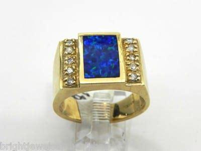 mens  yellow gold black opal diamonds ring bright