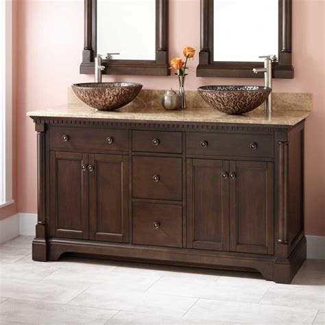 60 quot claudia double vessel sink vanity antique coffee
