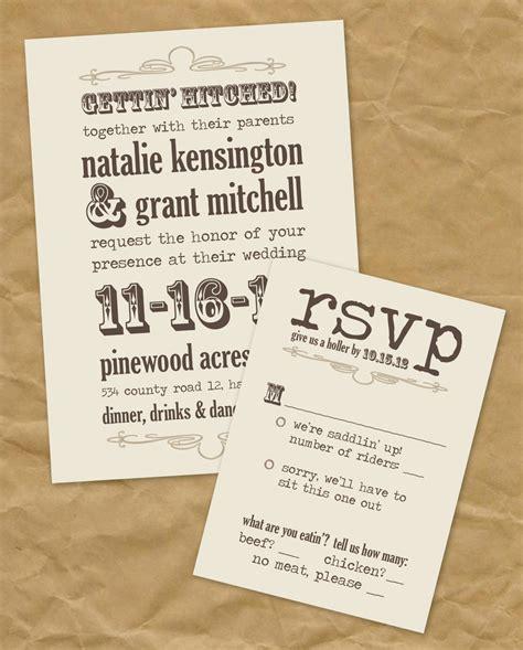 Western: Gettin' Hitched Wedding Invitation Printable