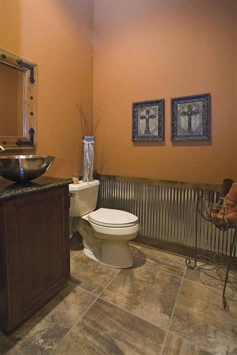 Country Wainscoting Ideas by Vessel Sink Tin Wainscoting And A Brown Paint For