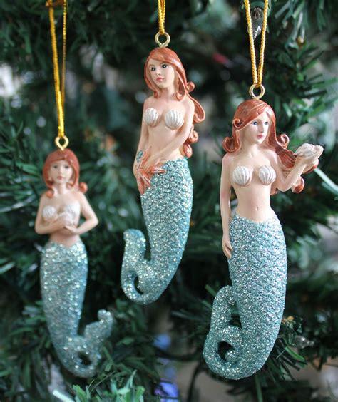 glitter tail mermaid ornaments set coastal christmas