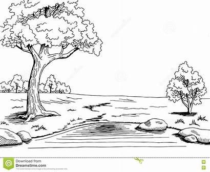 Lake Tree Landscape Park Illustration Graphic Vector