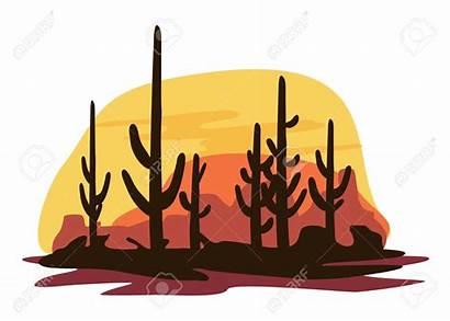 Clipart Cactus Cartoon Landscape State Flag Coyotes