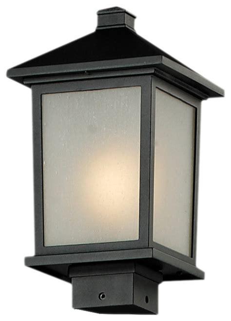 holbrook black seedy glass outdoor post light fixture