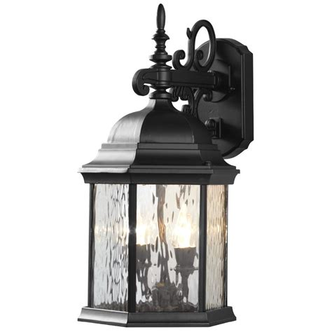 hton bay 2 light exterior led wall lantern black matte