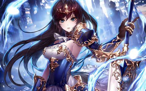 wallpaper anime girl sword fantasy armored dress