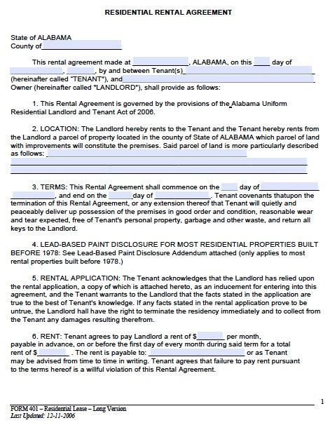 rental lease agreement template real estate forms
