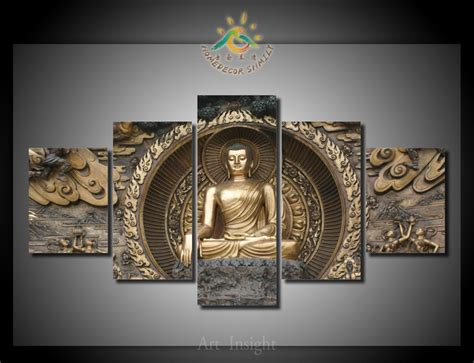 5 pieces set buddha canvas painting hd printed on canvas painting for living room wall