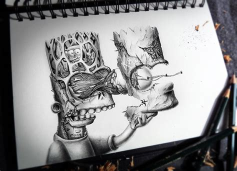 distroy creepy graphite drawings  popular cartoon