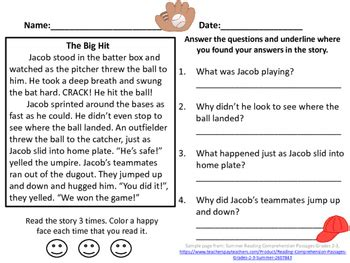 baseball reading comprehension passage grades 2 3 by reading tree 123