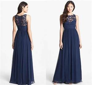 navy blue chiffon long bridesmaid dresses lace 2018 floor With long navy dress for wedding