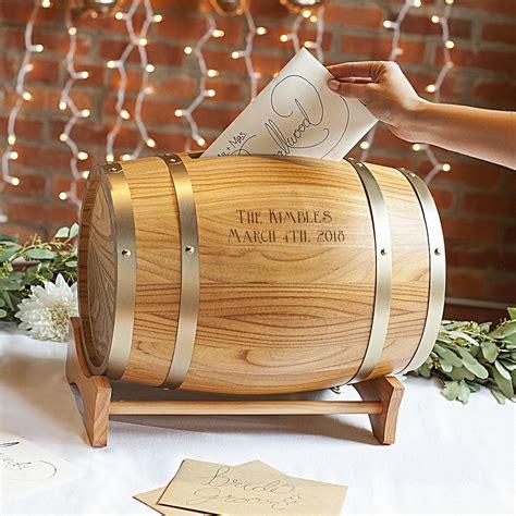 personalized wood wine barrel wedding gift cards holder