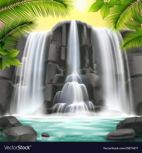 Fall Backgrounds Realistic by Waterfall Realistic Background Royalty Free Vector Image