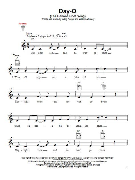 Banana Boat Song Guitar Tab by Day O The Banana Boat Song By Harry Belafonte Ukulele