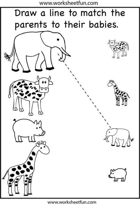 image educational printable worksheets kindergarten 507 | for kindergarten worksheet educational printable worksheets children s preschool animal baby fun kids line drawing free download open source elephants cow giraffe pictures