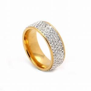 5 rows crystal stainless steel ring for women elegant full With jewelry stores wedding rings