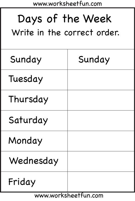 days of the week worksheet printable worksheets