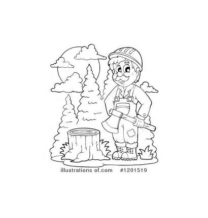 Lumberjack Clipart Coloring Pages Illustration Royalty Visekart
