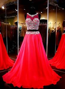 red two piece prom dresses a line gown beaded crop top With robe de soirée 2 pièces