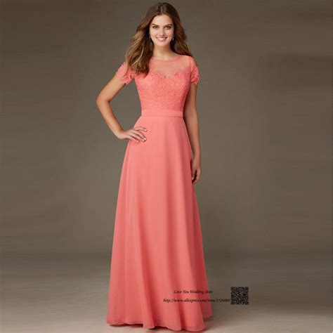 coral colored dresses coral colored bridesmaid dresses sleeve lace wedding