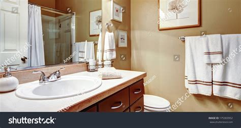 Warm Colors For Bathroom Walls by Warm Colors Bathroom Decorated White Towels Stock Photo